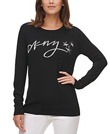 Sequined Crewneck Script Logo Sweater