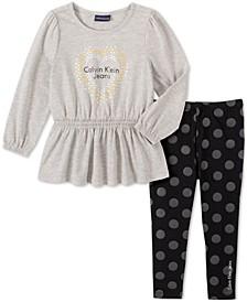 Baby Girls 2-Pc. Peplum Tunic & Printed Leggings Set