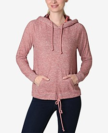 Juniors' Faux-Sherpa Tie-Bottom Hooded Sweatshirt