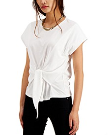 INC Cotton Tie-Front T-Shirt, Created for Macy's