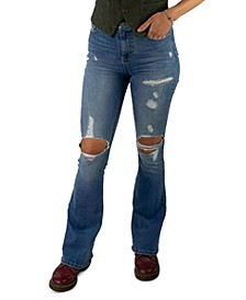 Juniors Distressed High Rise Flare Jeans