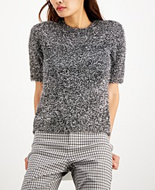 INC Silver Fuzzy Short-Sleeve Sweater, Created for Macy's