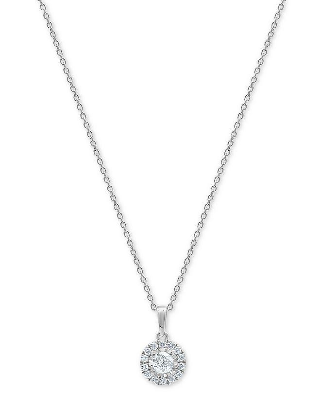 "Macy's Diamond Halo 18"" Pendant Necklace (1/2 ct. t.w.) in 10k White Gold"