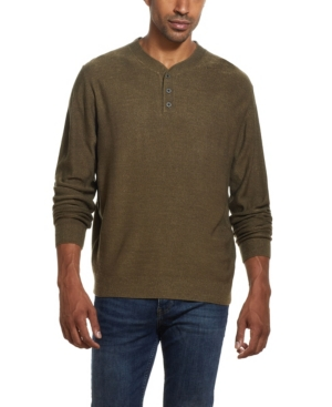 Men's Vintage Workwear Inspired Clothing Weatherproof Vintage Mens Soft Touch Henley Sweater $29.99 AT vintagedancer.com