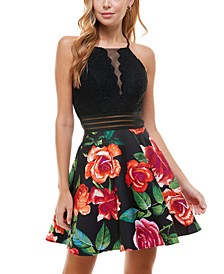 Juniors' High-Neck Two-Tone Dress