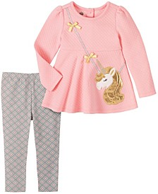 2Pc Khq Toddler Girl Pink Quilted Unicorn Purse Tunic With Grey Geo Print Legging Set