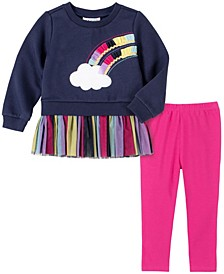 2 Piece Toddler Girls Fleece with Multiple Colored Mesh Cloud Rainbow Tunic and Legging Set