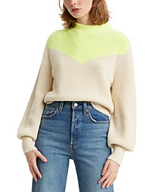 Fiona Colorblocked Bishop-Sleeve Sweater