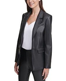 Open-Front Faux-Leather Jacket