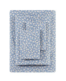 Button Floral Percale King Sheet Set