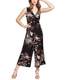 Floral-Print Faux-Wrap Culotte Jumpsuit, in Regular & Petite