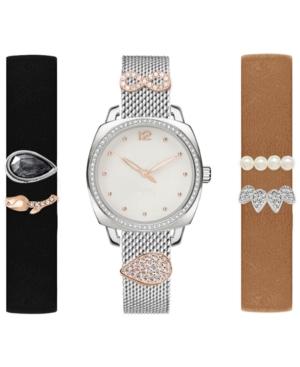 Women's Interchangeable Strap & Sliding Charm Watch 34mm Gift Set
