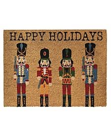 Nutcracker Happy Holidays Coir Doormat