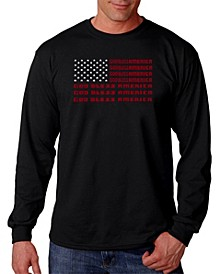 Men's God Bless America Word Art Long Sleeve T-shirt