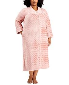 Plus Size Chevron Long Zip Front Cozy Robe, Created for Macy's
