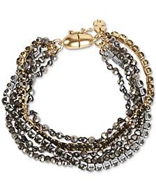 Tri-Tone Crystal & Bead Multi-Row Magnetic Bracelet