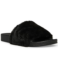 Fancy-F Faux-Fur Slides