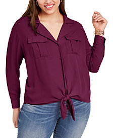 INC Plus Size Tie-Front Blouse, Created for Macy's