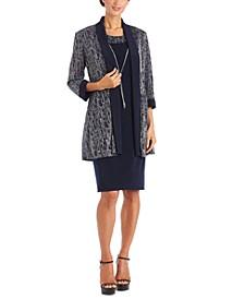 Petite 2-Pc. Metallic Jacket & Dress Set