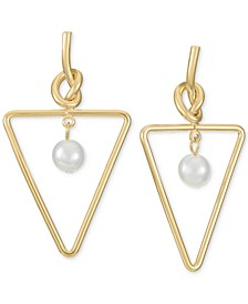 Gold-Tone Imitation Pearl Triangle Drop Earrings, Created for Macy's