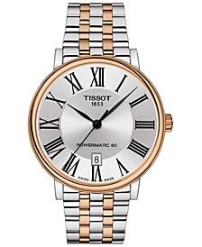 Men's Swiss Automatic Carson Premium Powermatic 80 Two-Tone Stainless Steel Bracelet Watch 40mm