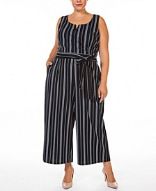 Plus Size Printed Textured Knit Jumpsuit