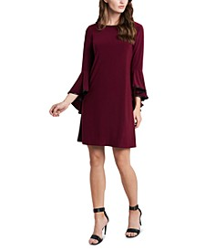 Piped Bell-Sleeve Shift Dress