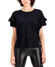 INC Plus Size Cotton Ruffled Studded T-Shirt, Created for Macy's