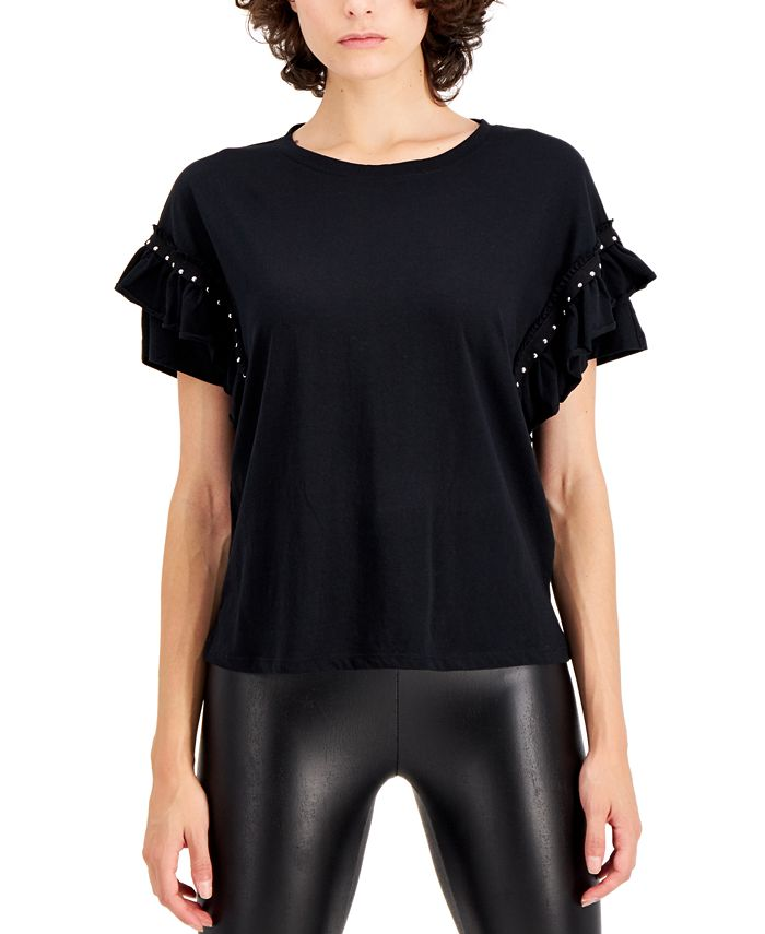 INC International Concepts - Plus Size Cotton Ruffled Studded T-Shirt