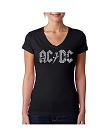 Women's AC/DC Word Art V-Neck T-Shirt