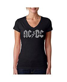 La Pop Art Women's AC/DC Word Art V-Neck T-Shirt