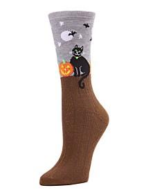 Women's Moonlight Cat Halloween Crew Socks