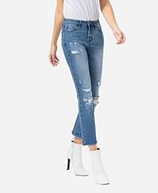 Women's Mid Rise Distressed Crop Slim Straight Jeans