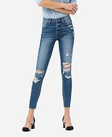 Women's Mid Rise Distressed Raw Hem Skinny Crop Jeans
