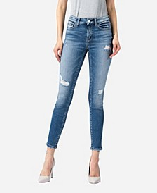 Women's Mid Rise Distressed Vintage-Like Wash Skinny Ankle Jeans