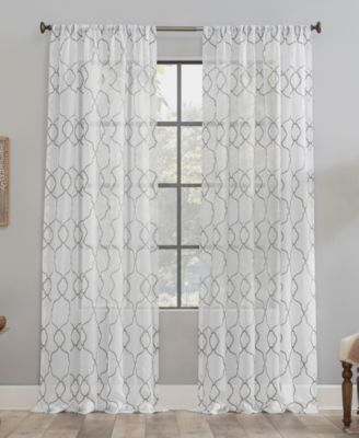 "Embroidered Trellis Dust Resistant Sheer Curtain Panel, 50"" x 84"""