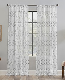 Embroidered Trellis Dust Resistant Sheer Curtain Panel Collection