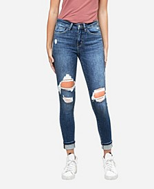 Women's Mid Rise Distressed Cuffed Skinny Crop Jeans