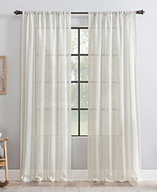 Clean Window Retro Stripe Dust Resistant Sheer Curtain Panel Collection