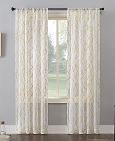 "Abstract Geometric Embroidery Semi-Sheer Rod Pocket Curtain Panel, 50"" x 96"""