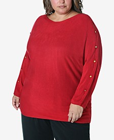 Women's Plus Size Button Trim Sweater