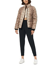Snakeskin Print Faux-Leather Puffer Coat