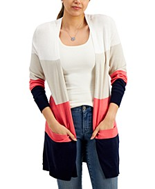 Open-Front Colorblocked Cardigan, Created for Macy's