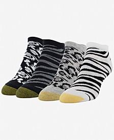 Women's Classic Animal Print 4pk No-Show Socks
