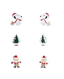 Fine Silver Plated Enamel Holiday Snoopy Charlie Brown Woodstock Earring Trio