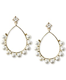 INC Gold-Tone Imitation Pearl Open Teardrop Earrings, Created for Macy's