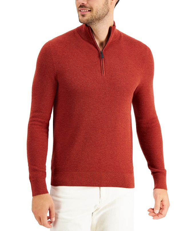 Michael Kors Men's Regular-Fit Textured Stitch 1/4-Zip Sweater, Created for Macy's
