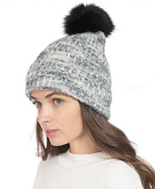 Rib Marled Beanie Hat With Faux-Fur Pom, Created for Macy's