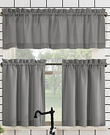 "Martine Rod Pocket Kitchen Curtain Valance And Tiers Set, 54"" x 24"""