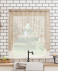 """Alison Floral Lace Rod Pocket Kitchen Curtain Swag Pair, 58"""" x 38"""""""